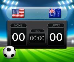 VS versus Australië scorebordsjabloon voetbal