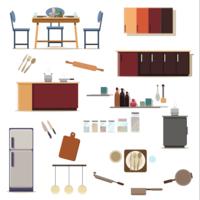 Set van keuken decoratie van keuken kamer vector