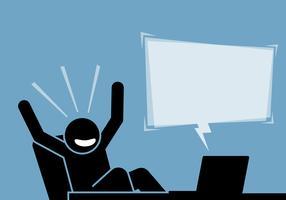 Mens die opgewekt en gelukkig na het zien van de inhoud en de aankondiging van de computer en Internet voelt. vector