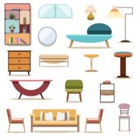 Set van decoratie meubelen woonkamer