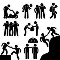Bedrijfsvriend die elkaar Pictogram van het Symbool van het Pictogram van het Pictogram helpen.