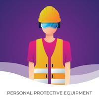 Werknemer met persoonlijke beschermingsmiddelen en veiligheid illustratie. vector