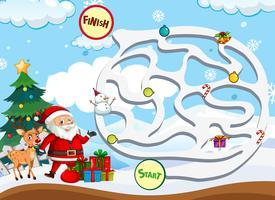 Kerst doolhof spel sjabloon