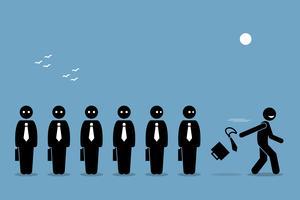 Medewerker die zijn baan opzegt door zakentas en stropdas weg te gooien, waardoor alle andere saaie werknemers achterblijven.
