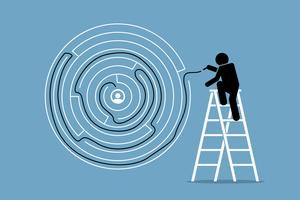 De mens vindt met succes de oplossing en de uitweg uit een ronde doolhofpuzzel. vector