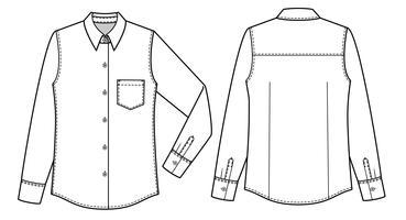 Shirts met lange mouwen mode vlakke technische tekening sjabloon