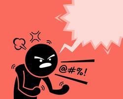 Een zeer boze man die zijn woede, woede en ontevredenheid uitdrukt door te vragen waarom. vector