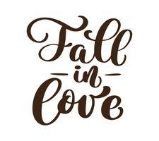 Verliefd worden met de hand geschreven herfst seizoen inscripties. Vector hand belettering. Moderne borstelkalligrafie die op witte achtergrond wordt geïsoleerd