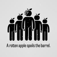 Een rotte appel bederft de ton. vector