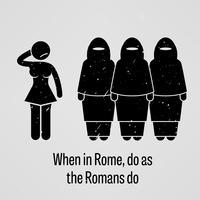 Als je in Rome bent gedraag je als de Romeinen. vector