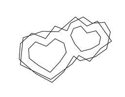 Geometrische vector twee zwarte frames van de hartvorm met plaats voor tekst. Liefdespictogram voor wenskaart of huwelijk, Valentijnsdag, tatoeage, afdrukken. Vectordiekalligrafieillustratie op een witte achtergrond wordt geïsoleerd