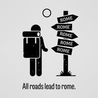 Alle wegen lijden naar Rome. vector