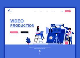 Moderne platte webpagina ontwerpsjabloon concept van videoproductie vector