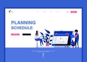 Moderne platte webpagina ontwerpsjabloon concept van planningsschema vector