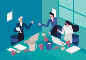 Managervergadering om Bedrijfdoelstellingen Vectorillustratie te bereiken