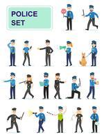 Reeks politieambtenaren die hun werk doen vector