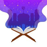 Vlakke Islamitische Heilige Al Quran Vector Illustration