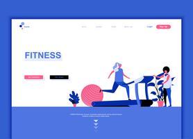 Moderne platte webpagina ontwerpsjabloon concept van fitness vector