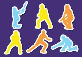 Cricket Speler Sticker Vector Pack