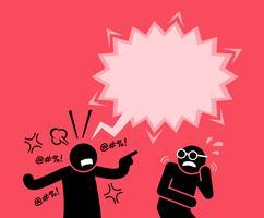 Een man schreeuwde en schreeuwde tegen zijn vriend. vector
