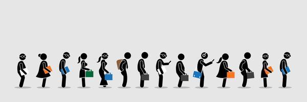 Werkzoekenden of kantoormedewerkers en werknemers staan in de rij in de rij.