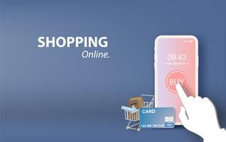 illustratie van online winkelen op mobiele applicatie