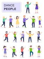 Reeks jonge gelukkige dansende mensen of mannelijke en vrouwelijke dansers vector