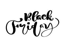 Zwarte vrijdagkalligrafie die vectortekst van letters voorzien. Voor kunst sjabloon ontwerp lijst pagina mockup brochure stijl, banner idee dekking, boekje print flyer, boek lege kaart advertentie teken, poster badge