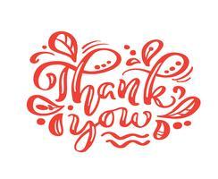 Dank u rode kalligrafie die vectortekst van letters voorzien. Voor kunstsjabloon ontwerp lijstpagina, mockup brochure stijl, banner idee omslag, boekje print flyer, poster