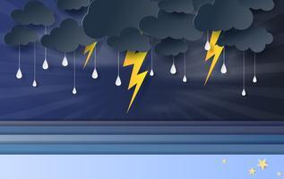 illustratie van zeegezicht weergave met zwarte wolk