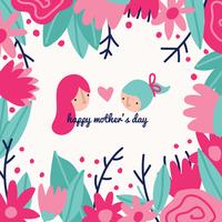 Kleurrijke moederdag tekening