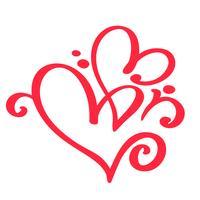 Twee rode geliefden hart. Handgemaakte vector kalligrafie. Decor voor wenskaart voor Valentijnsdag, mok, foto overlays, t-shirt afdrukken, flyer, posterontwerp