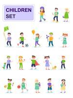 Set van kinderen in verschillende poses en verschillende activiteiten