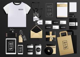 Huisstijl ontwerpsjabloon set. Mock-up pakket, tablet, telefoon, prijskaartje, beker, notebook. concept