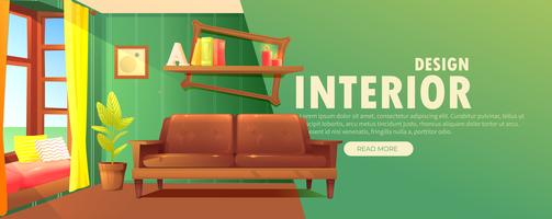 Binnenlandse ontwerpbanner. Retro woonkamer met een bank en moderne meubels