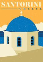 Santorini Retro Vectorontwerp