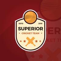 Platte Cricket Logo Badge Team Vector sjabloon
