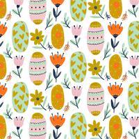 Leuk patroon met decoratieve paaseieren met bloemen en bladeren