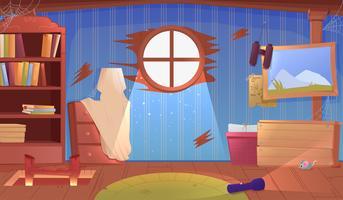 Het interieur van de zolder. Een oude vergeten kamer met dozen op het dak. Lamp en afbeeldingen en trappen naar de top. Vector cartoon illustratie