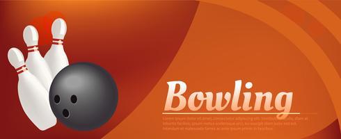 Bowling realistische afbeelding achtergrond. Bowling spel vrijetijdsbesteding concept