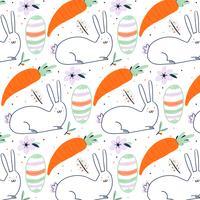 Pasen-patroon met konijntje, decoratief ei, wortel en bloem