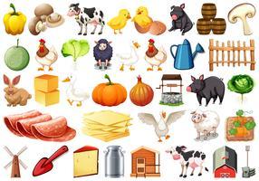 Set van boerderij-objecten vector