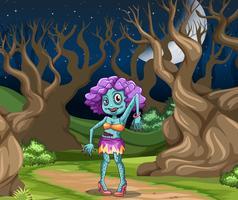 Griezelige zombie vrouw scène vector