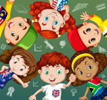 Internationale studenten en schoolobjecten vector