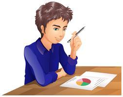 Een jongen die denkt tijdens het afleggen van een examen