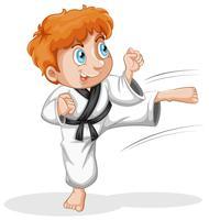 Een vtaekwondo-jongenskarakter vector