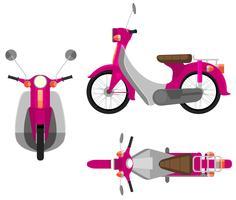 Een roze motorvoertuig