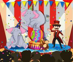 Dierenshow in het circus vector