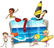 Mensen die verschillende activiteiten op zee doen
