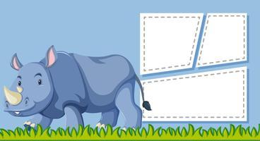 Een neushoorn op lege nota vector